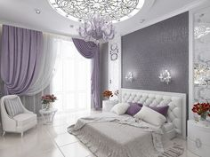 Ideas, Formulas and Shortcuts for Cozy White and Purple Bedroom Decor - decoruntold Purple Bedroom Decor, Purple Bedrooms, Room Decor Bedroom, Luxury Bedroom Design, Home Interior Design, Simple Bedroom Design, Room Ideias, Stylish Bedroom, Suites