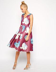 Betty Draper esque. Enlarge ASOS Premium Structured Midi Dress in Large Floral Print