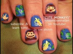cute monkeys holding bananas nail art robin moses