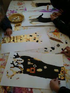 les petites têtes de lart: Mon klimt Artists For Kids, Art For Kids, Classe D'art, Group Art Projects, 4th Grade Art, Ecole Art, Art Lessons Elementary, Art Classroom, Art Club