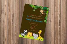 Jungle Birthday Invitation Safari Zoo Monkey Zebra Lion Elephant Giraffe Boy - DIY Personalized Printable Invitation