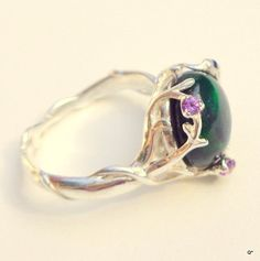 Ultra Rare~Welo Black Opal ring, Sterling Silver Ring, Ethiopenian opal ring, Branch Setting,Multi-Color Opal,Mystical Stone Ring on Etsy, $149.00