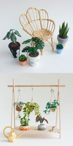dollhouse accessories Etsy Shop Feature on So Super Awesome - havuc Modern Dollhouse Furniture, Miniature Furniture, Doll Furniture, Garden Furniture, Furniture Ideas, Miniature Plants, Miniature Houses, Diy Dollhouse, Dollhouse Miniatures