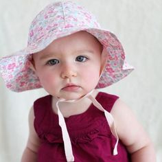 8d889fd9 Precious Poplin Floral Printed 100% Organic Cotton Sun Hat for Baby Girls