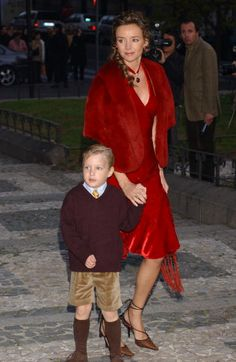 Princess Miriam of Bulgaria with her son Prince Beltrán Turnovski of Bulgaria attend the wedding in Madrid on 27 Nov 2004