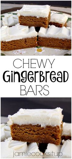 Chewy Gingerbread Bars from Jamie Cooks It Up! Perfect for holiday parties or to take to neighbors and friends.