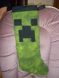minecraft christmas stocking; use fleece! Very simple hand sewing project.~turned out so good!!!