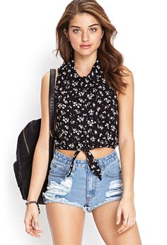 Floral Self-Tie Shirt | FOREVER21 - 2000062457
