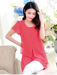 Chiffon Short Sleeve Layer Shirt