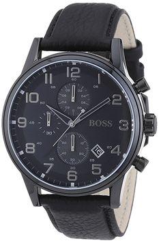 a2fa444d0aa5 Montre Homme Hugo Boss - 1512567 - Cadran Acier inoxydable Noir - Bracelet  Cuir Noir - Date - Quartz Chronographe