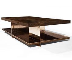 mesa de centro moderna de madera reutilizada GRID by Barlas Baylar Hudson Furniture