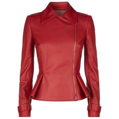 Elie Saab Peplum Leather Jacket ($3,960) ❤ liked on Polyvore featuring outerwear, jackets, real leather jacket, genuine leather jacket, zipper jacket, red jacket and red zip jacket