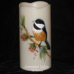 Flameless LED MEMORIAL Personalized Chickadee by CovenantLights