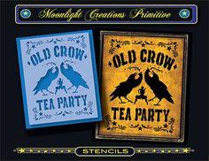 Stencil-OLD-CROW-TEA-PARTY-Black-Bird-Tea-Pot-Brew-Elixir-Moon