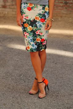 Bright floral pencil skirt with grey t-shirt