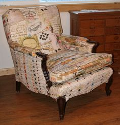 amazing reupholstered chair features a 1600s color chart-- fabrics by PeaGreenGirl
