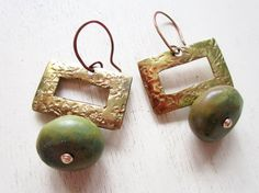 Olive Turquoise Vintage Brass Earrings  Gemstone  by catrocks