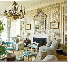 Trellis wallcovering | 1970s Parish-Hadley | Veranda... via belclaire house...