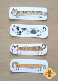 Cute bookmark with an orange cat two-sided hand by Adelaida