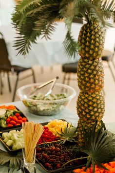 Palm Tree food table decoration for the wedding and reception!! PERFECT!!