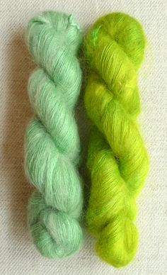 2 skeins of Alchemy's Haiku, 60% Kid Mohair, 40% Silk. These colors, from left to right, are Willow and Sour Grass.