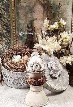 Easter egg treat filling containermama chick on gift box wbaby one vintage style roses easter egg ornament french shabby chic spring negle Choice Image