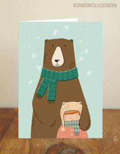 Weihnachtskarten - Weihnachten Klappkarte Bär - ein Designerstück von fiftyfour-media-illustration bei DaWanda