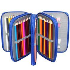 Pencil Case   Zippered 72 Pencil Holder - Blue   Pencil Storage Pencil Pouch Large Pencil Case Cute   Colored Pencil Holder   Pencil Roll (26.99 USD) by DavesSupplies