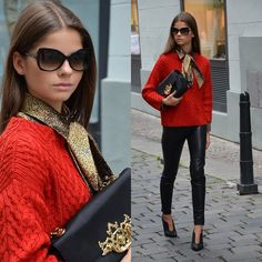Moschino Bag and sunglasses, Zara sweater, Trussardi shirt, H&M leather pants and black Bata heels (Baťa) by 17 years old fashion blogger from Czech Republic. #batashoes