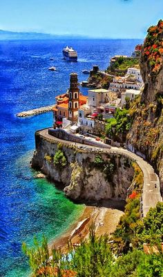 The coastline of Almalfi, Italy