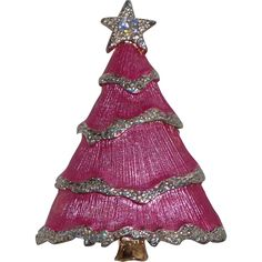 Rare Liz Claiborne Pink Snow Frosted Christmas Tree Brooch Book Piece.