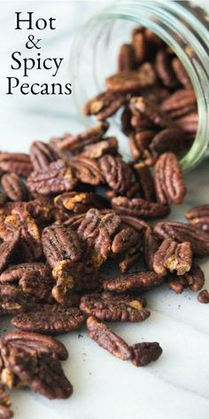 Simple recipe for homemade Hot and Spicy Pecans roasted in the oven. These pecans make a great party snack or hostess gift. Savory Roasted Pecans Recipe, Spiced Pecans, Pecan Recipes, Spicy Recipes, Appetizer Recipes, Appetizers, Spicy Nuts, Sweet And Spicy, Holiday Recipes