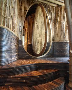 The circular doors of the Sharma Springs, Green Village Bali don't open the way we are used to, they would just keep spinning smoothly on their axis if you let them.