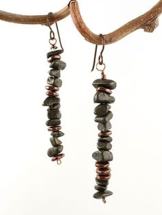 Pyrite chips with copper accent earrings