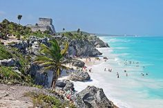 El Castillo looks over the Caribbean at Tulum Mexico - postcard worthy views!!