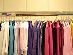 This is 'color coding' a closet.  Makes it easy to find what you want...and easy to put it back.