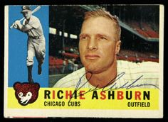 chicago cubs 1960s | 1960 Topps Richie Ashburn Chicago Cubs Signed Card (JSA)