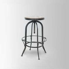 Footrest Swivel Stool.  West Elm.  @Rhonda Stein - love that these have a footrest and reclaimed wood tops.