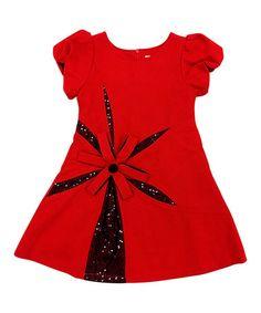 This Red Ella Wool-Blend Puff-Sleeve Dress - Girls is perfect! #zulilyfinds