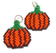 Pumpkin Bead Woven Charm by HandmadeCute on Etsy, $2.75