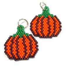Pumpkin Bead Woven Charm by HandmadeCute on Etsy, $2.75