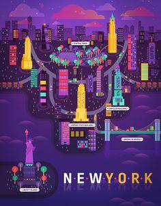 Cosmopolis – An Inspiring Collection of Major City Illustrations - New York city illustration metropolis geometry by Aldo Crusher