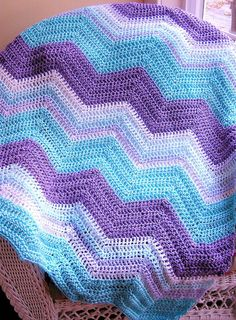 chevron zig zag baby blanket afghan wrap crochet knit lap robe ripple stripes yarn aqua purple whte variegated handmade in USA