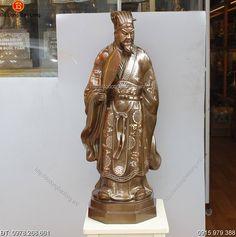Tượng Đồng Khổng Minh Khảm Tam Khí 75cm - Đồ đồng Bảo Long