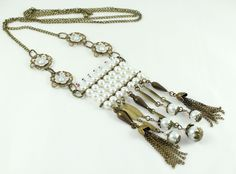 Great gift for boho chic. Amazing ethnic jewellery / Multi Chain Necklace made of  glass pearls, brass flowers and more – a unique product by Nymphea via en.DaWanda.com #white