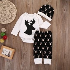 >> Click to Buy << Newborn Baby Boy Girl Deer Clothes Long Sleeve Romper+Pants Hat 3PCS Outfits Set #Affiliate