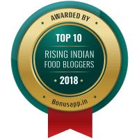 Badge for Top 10 Rising Indian Food Bloggers – 2018