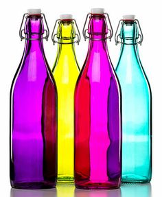 Bormioli Rocco Glassware, Giara Bottles 33.75oz blue, fuchsia 9.99 thru1/20