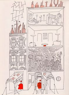 Saul Steinberg (one color highlight)