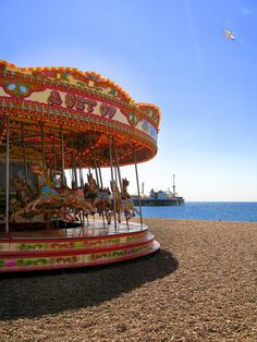 carousel brighton beach <3 - http://kellygriffin.com.au/2013/05/5-reasons-to-visit-brighton-uk-travel-guide/